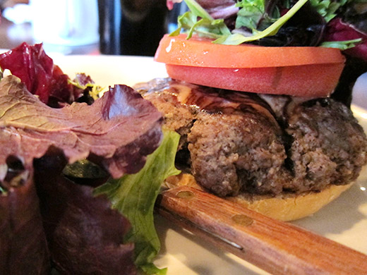 Perch's generically named Burger ($9) 5oz. of homemade, beef patty with lettuce, tomato, dijon and mayo on a kaiser bun.