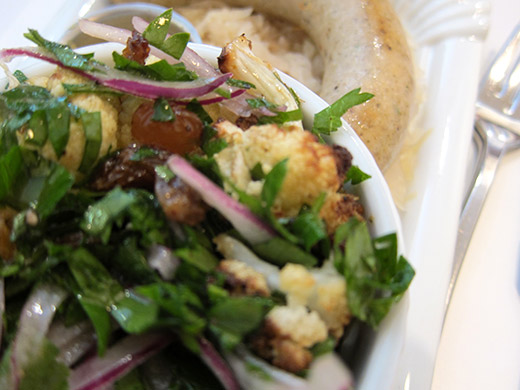 Cauliflower Salad ($3.5): Roasted cauliflowers, red onions, raisins and parsley and honey sweetened dressing.