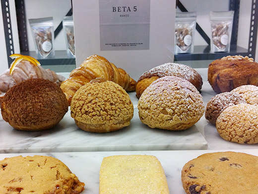 Beta 5 isn't just about chocolates, the front displays a bevy of inventive baked goods, from cookies to cream puffs.