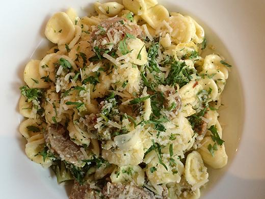 Orecchiette Con Salsiccia ($16): fennel sausage, broccolini, preserved lemon, chili, pecorino romano.