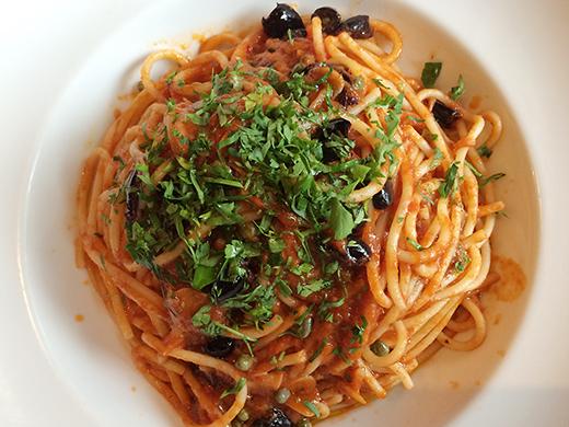Spaghetti Puttanesca ($15): anchovies, capers, olives, chili, pomodoro sauce.