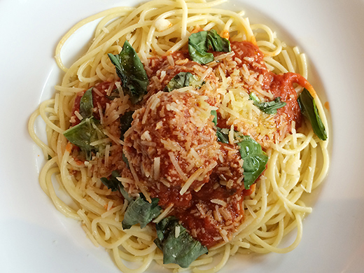 Spaghetti & Meatballs ($16): Pemberton Meadows beef & pork meatballs braised in red wine & tomato sauce, parmesan, fresh basil.