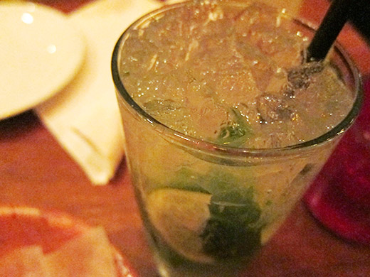 Mojito ($8.75): Havana Club, fresh mint, muddled with limes and cane sugar served over crushed ice with a dash of soda.
