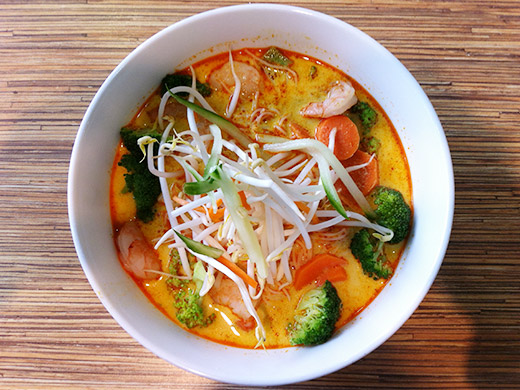 Singapore Laksa ($10): Coconut milk soup, rice noodles and and topped with a mountain of fresh cut veggies.