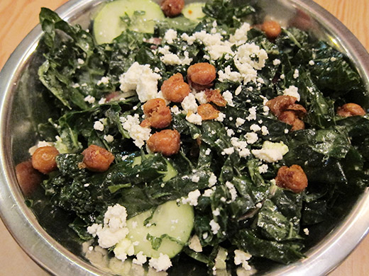 Kale Caesar Salad ($8): kale, cucumber, ricotta salata, pine nuts, fried lemon.