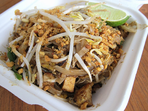 The old standby: Pad Thai ($10). Rice noodles, tofu, prawns, peanuts, sprouts tossed in a sweet and source tamarind sauce.