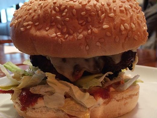 Effing Good Burger ($13): Smoked Onion Mayo, BBQ Sauce,Tomato Jam, Bacon, Lettuce, Pickle, & Monterey Jack Cheese.