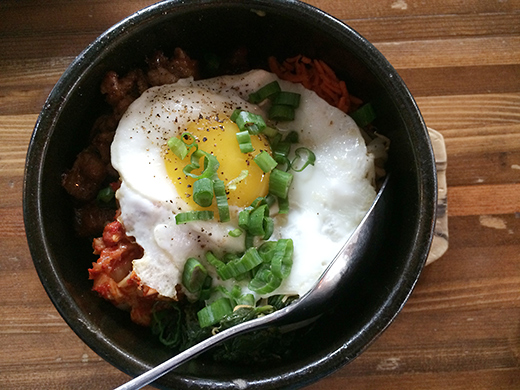 "Bim Bop Bacon & eggs ""stir like crazy"" ($12): Yes, the crazy folks at Tasty just added bacon to an already perfect dish."