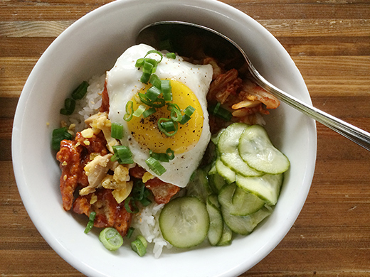Korean Fried Chicken ($10): Served with short grain rice, house kimchi & eggs two ways.