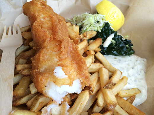 Pacific Cod with Chips ($10): served with a side of kale and cole slaw, tartar sauce and Kennebec potato fries.
