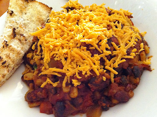Nathan's Vegan Chili ($12): Beans, corn, vegetables, vegan cheddar served with a wedge of focaccia.